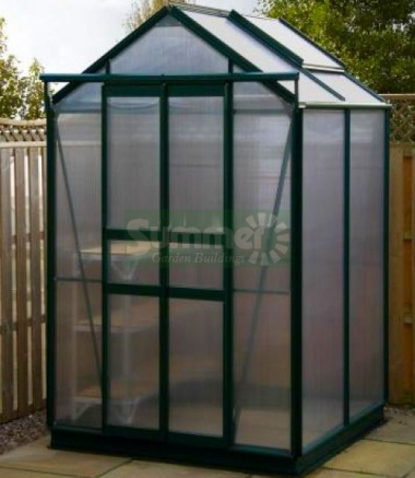 Green Aluminium Greenhouse 110 - Polycarbonate, Double Door