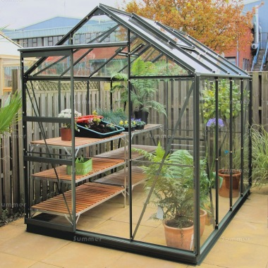 Green Aluminium Greenhouse 141 - Extra Tall High Eaves
