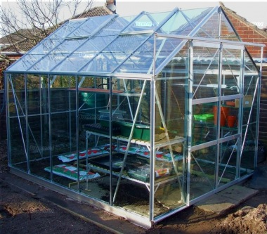 Grey Aluminium Greenhouse 174 - Double Door