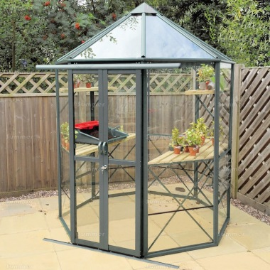 Aluminium Octagonal Greenhouse 595 - Toughened Glass