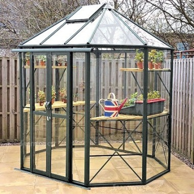 Aluminium Octagonal Greenhouse 597 - Toughened Glass