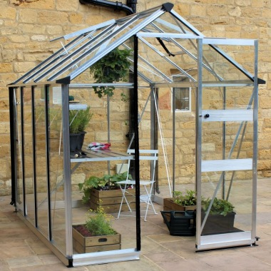 Aluminium Greenhouse 247 - Silver, Zero Threshold Doorway