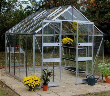 Aluminium Greenhouse 252 - Silver, Zero Threshold Doorway