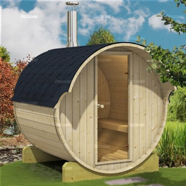 Log Barrel Sauna 991 - Slatted Benches, Felt Tiles
