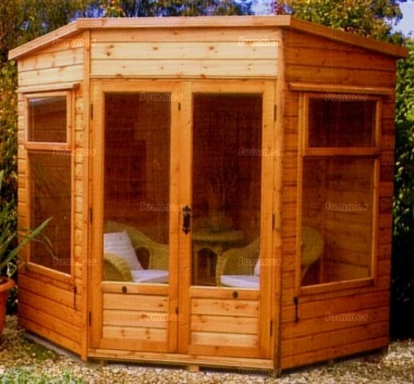 Corner Summerhouse 67 - Large Panes, Double Door