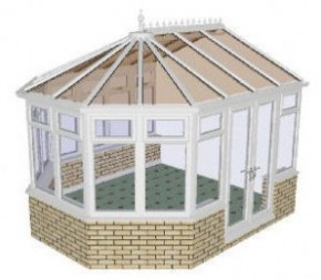 Victorian 3 bay Conservatory 41 - PVCu, Dwarf Wall