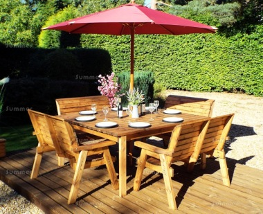 8 Seater Dining Set 506 - Armchairs, Benches, Square Table