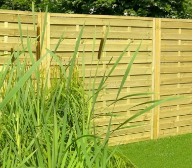 Fence Panel 410 - Planed Timber, 9mm Reeded Boards, 2x2 Frame