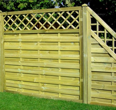 Fence Panel 435 - Stepped Height, All Planed, 9mm Boards, 3x2 Frame