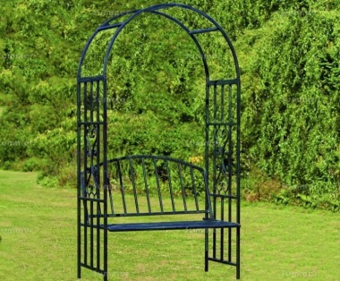 Arbour 070 - Powder Coated Steel With Rose Arch