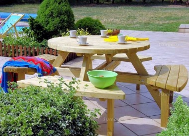4-8 Seater Round Picnic Bench 215 - Pressure Treated
