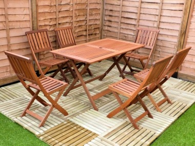 6 Seater Hardwood Set 120 - Folding Chairs, Rectangular Table