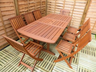 8 Seater Hardwood Set 137 - Folding Chairs, Extending Table