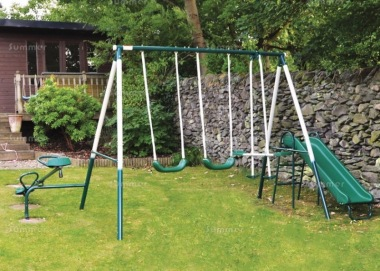 Outdoor Swing Set 505 - Swing, Slide, Seesaw