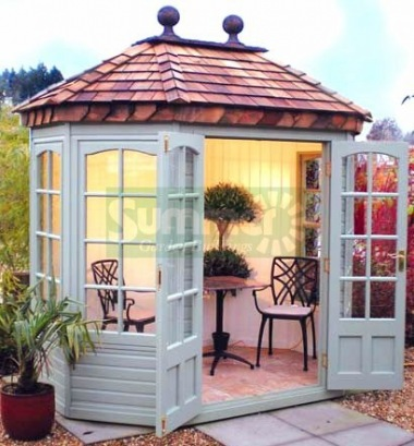 Georgian Octagonal Summerhouse 514 - Cedar, Painted