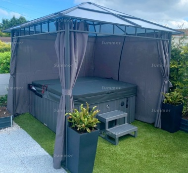 Gazebo 268 - Aluminium Frame With Polycarbonate Roof and Curtains