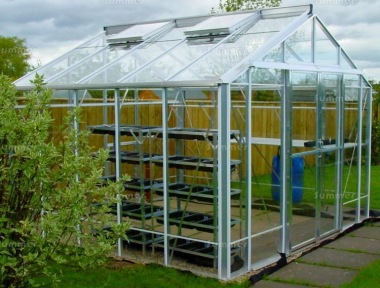 Large Grey Aluminium Greenhouse 615 - Double Door