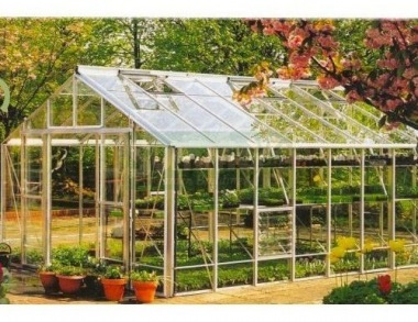 Large Grey Aluminium Greenhouse 617 - Toughened Glass