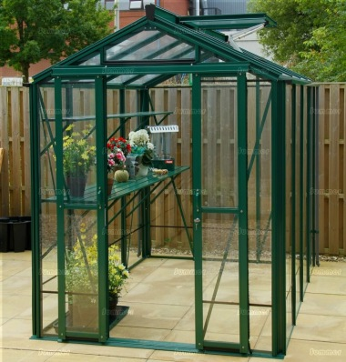 Aluminium Greenhouse 619 - Toughened Glass, Double Door