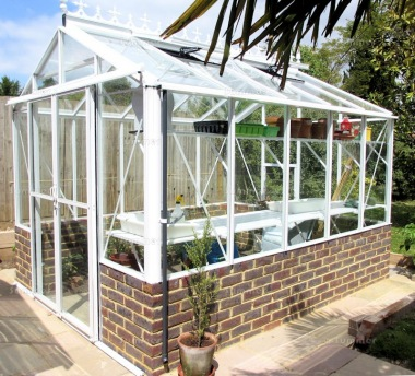 Dwarf Wall Aluminium Greenhouse 63 - Toughened Glass