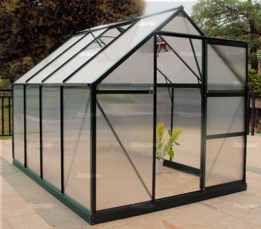 Aluminium Greenhouse 017 - Green, Polycarbonate, Base Included