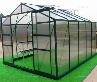Aluminium Greenhouse 067 - Green, Polycarbonate, Base Included