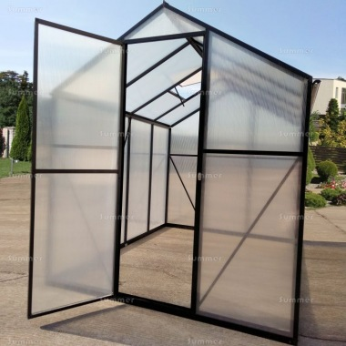Aluminium Greenhouse 022 - Black, Box Profile, Clip Free, Easy-Fit