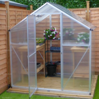 Aluminium Greenhouse 024 - Silver, Box Profile, Clip Free,  Easy-Fit