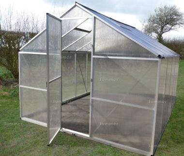 Aluminium Greenhouse 074 - Silver, Box Profile, Clip Free, Easy-Fit