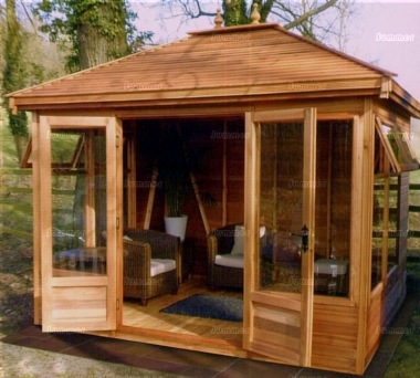 Hipped Summerhouse 681 - Large Panes, Double Door