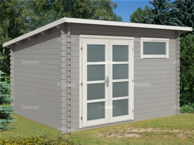 Pent Roof 28mm Log Cabin 322 - Double Door