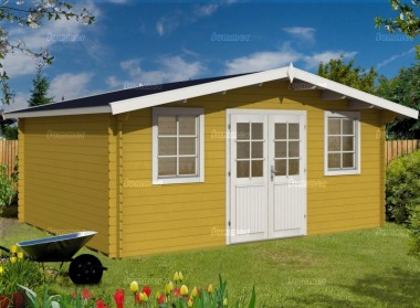 Apex Double Door 28mm Log Cabin 345 - Plain or Georgian