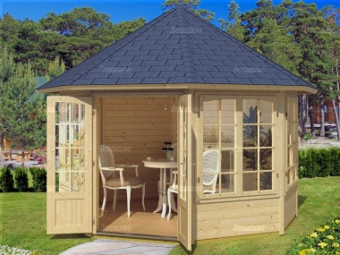 Double Door 40mm Octagonal Log Cabin 412 - Plain or Georgian