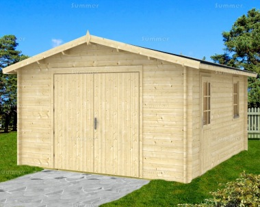 Wooden 40mm Log Garage 436 - Apex, Personnel Door