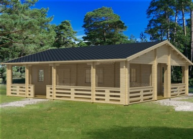 Four Room Side Door Apex Log Cabin 827 - Double Glazed, Verandah