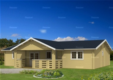 Seven Room Apex Log Cabin 829 - T Shape, Verandah