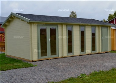 Two Room Side Door Apex Log Cabin 833 - Double Glazed
