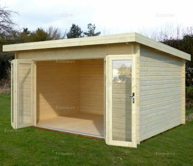 Folding Door Pent Roof Log Cabin 640 - Double Glazed