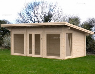 Pent Roof Log Cabin 643 - Double Glazed, 70mm Logs