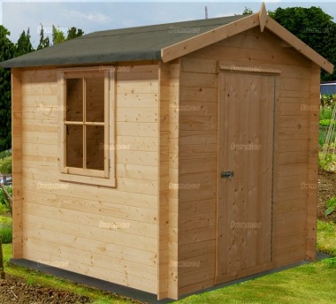 Log Cabin Shed 226 - Apex Roof, 19mm Logs, Boarded Door