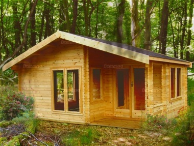 Two Room Apex Log Cabin 242 - Integral Porch