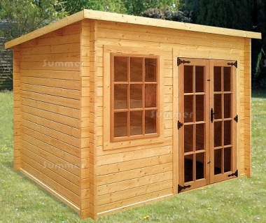 Georgian Double Door 34mm Pent Roof Log Cabin 168