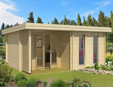 Pent Roof 45mm Log Cabin 284 - Integral Porch, Double Glazed