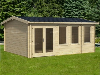 Two Room Side Door Apex Log Cabin 535 - Double Glazed