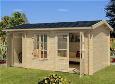 Two Room Side Door Apex Log Cabin 540 - Double Glazed