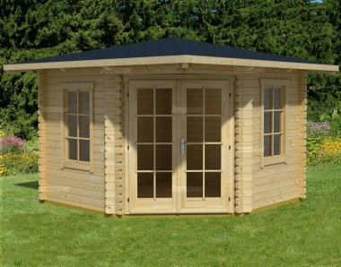Double Door 45mm Corner Log Cabin 95 - Georgian