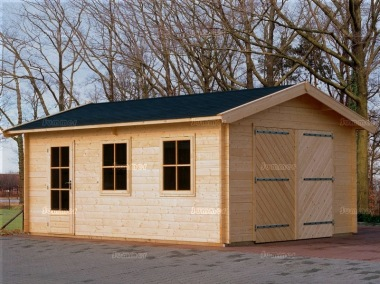 Wooden Log Garage 312 - Apex, Hinged Doors