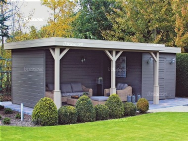 Pent Roof Gazebo 390 - With Integral Storage