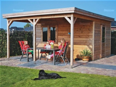 Pent Roof Gazebo 394 - With Integral Summerhouse
