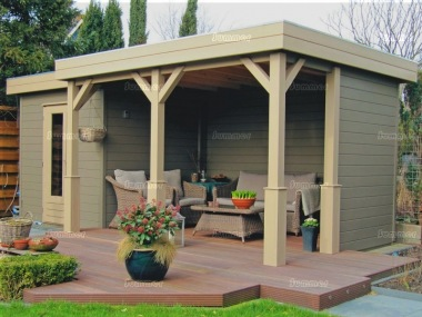 Pent Roof Gazebo 398 - With Integral Summerhouse